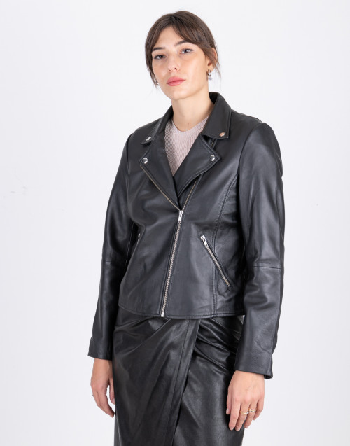 Biker in lambskin leather black