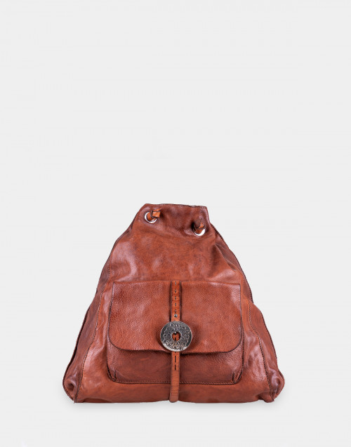 Cognac color leather Backpack