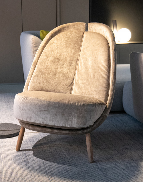 Light gray velvet calatea armchair