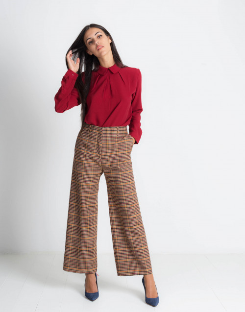 Check Camel Wool Oversized Trousers