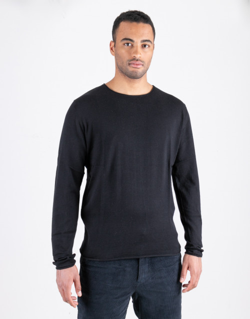 Black cotton and silk sweater