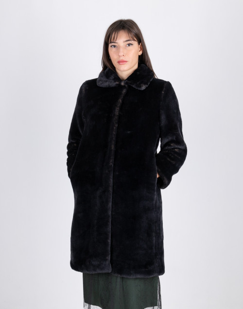 Solid color faux fur coat