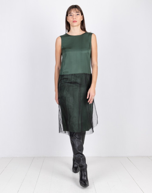 Green and black sleeveless dress