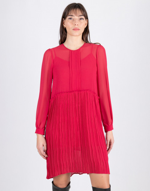 Paris pleated fuxia dress