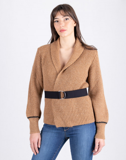 Cardigan lurex cammello