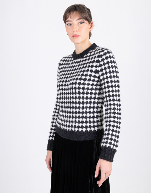 Black and white houndstooth sweater