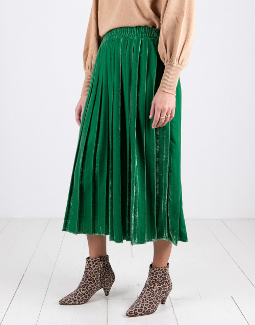 Green pleated velvet skirt