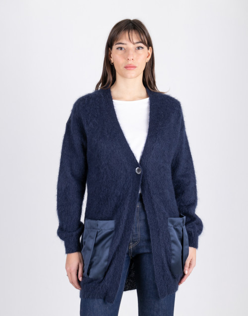 Cardigan in mohair blu