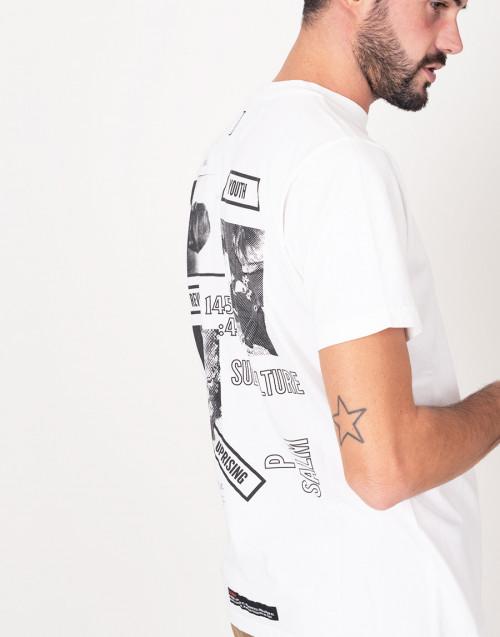 Maglia girocollo bianco con logo