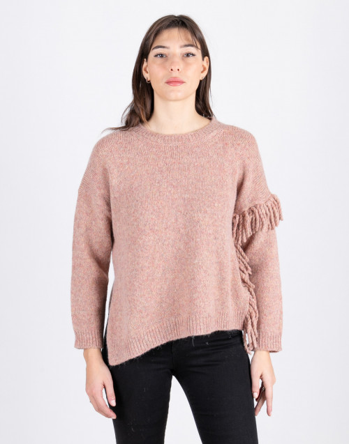 Pink fringed sweater