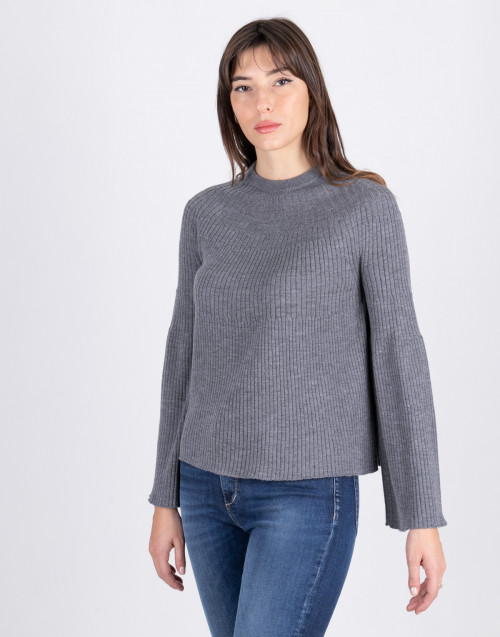 Gray flared wool sweater