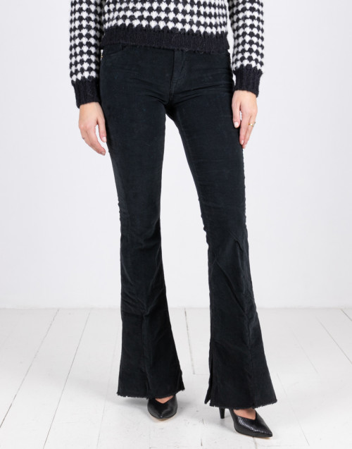 Black velvet stretch trousers