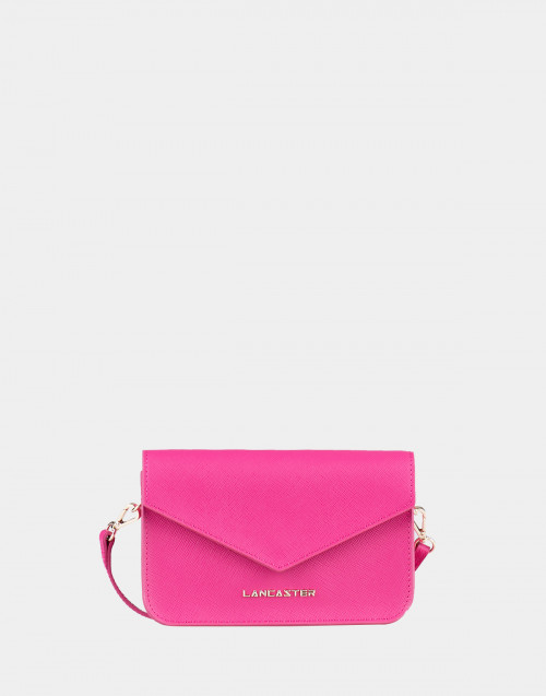 Fuxia Saffiano Signature mini clutch