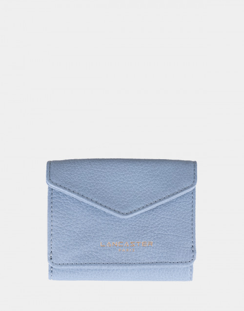 Light blue leather mini wallet
