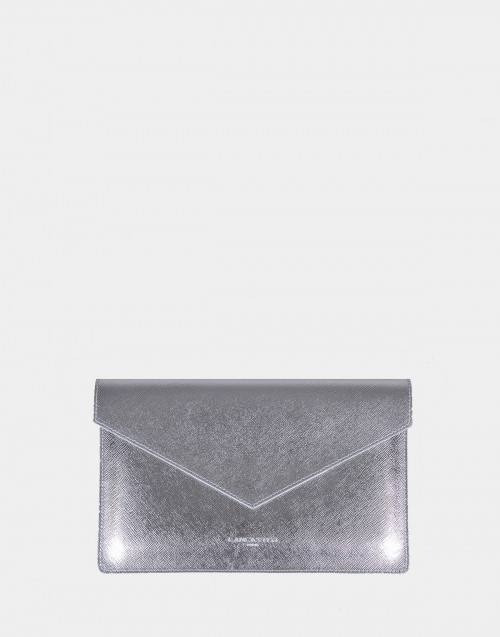Silver saffiano Element clutch bag