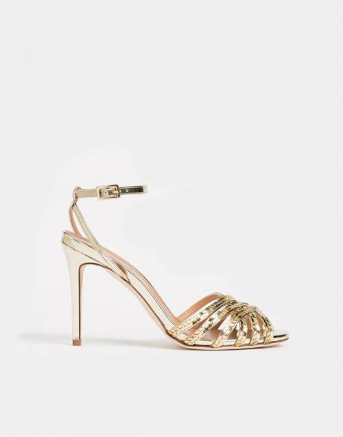 Gold laminated sandals