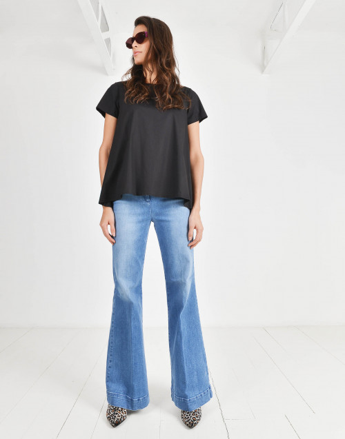 Crew-neck pleated t-shirt
