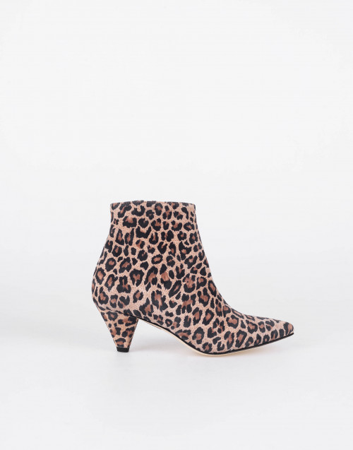Leopard print ankle boots with internal zip