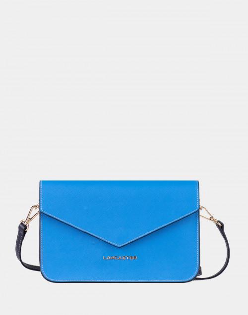 Pochette Saffiano Signature blu e grigio con tracolla
