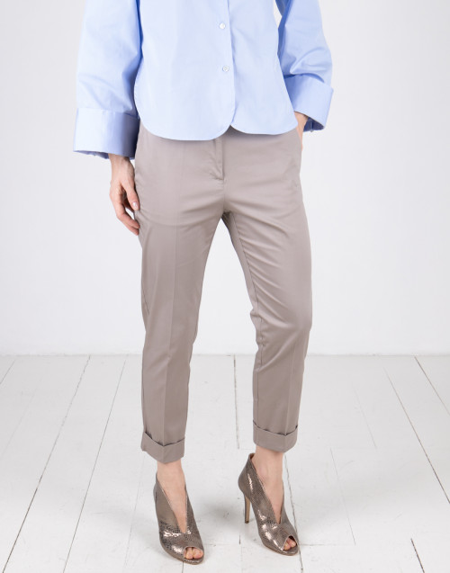 Sand color cotton trousers
