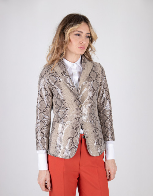 Beige shiny python printed leather jacket