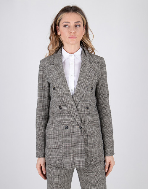 Double-breasted sand color micro-check jacket