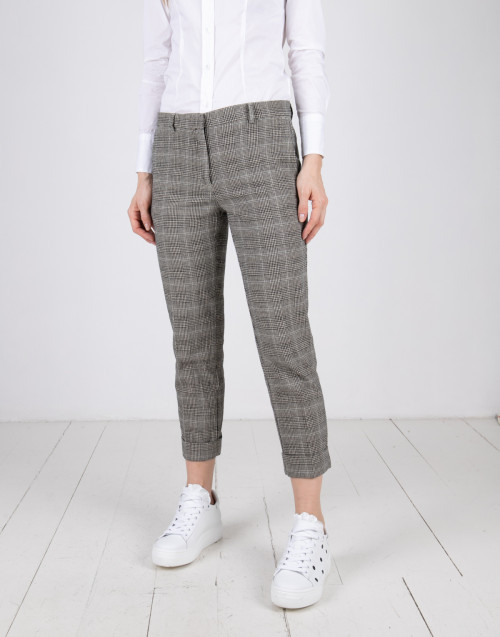 Micro-check sand color trousers
