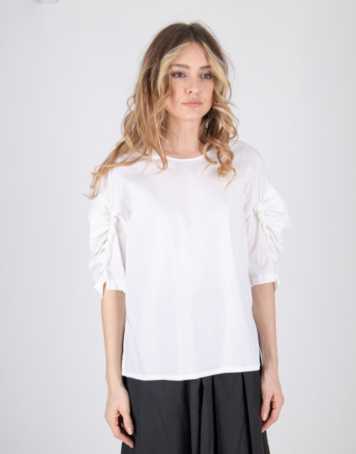 White curled sleeve blouse