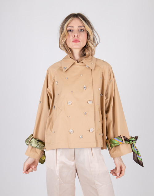 Beige semicouture short trench coat