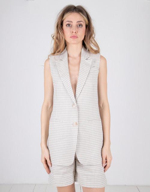 Semicouture blue / white vichy check waistcoat