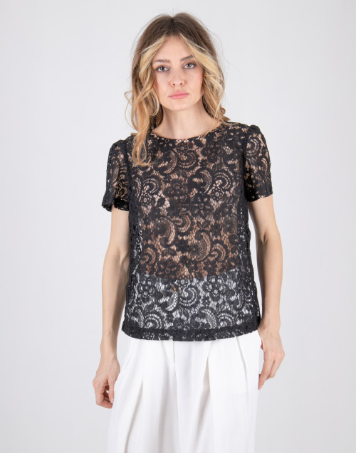 Semicouture black lace T-shirt