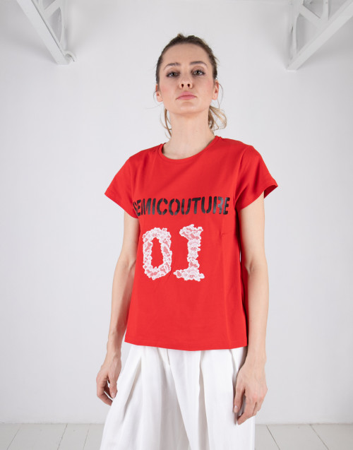 Semicouture red logo t-shirt