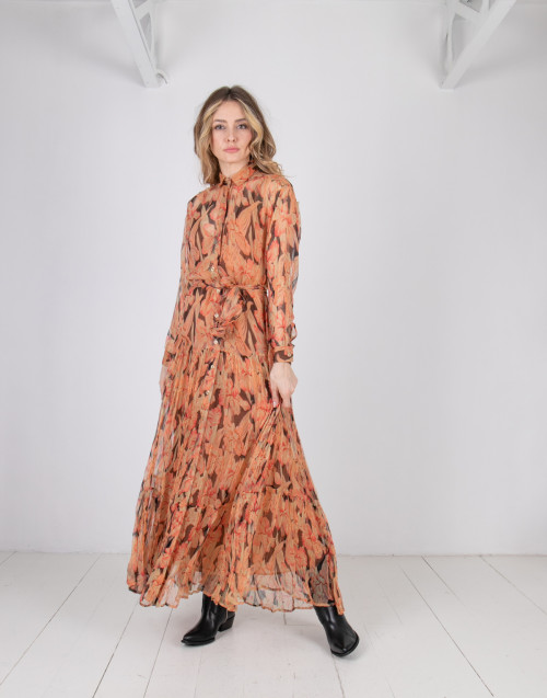 Long flower shirt dress