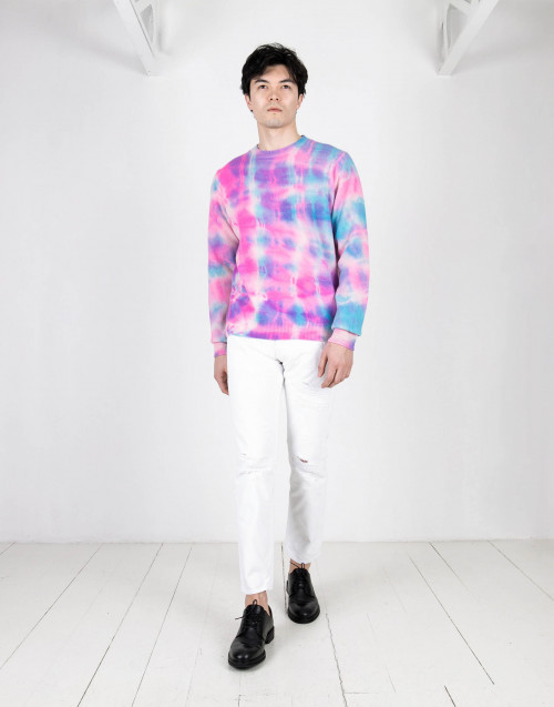 Pink and light blue tie and dye sweater cashmere