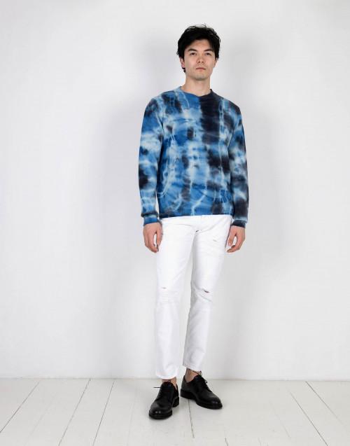 Maglione Tie and Dye azzurro cashmere
