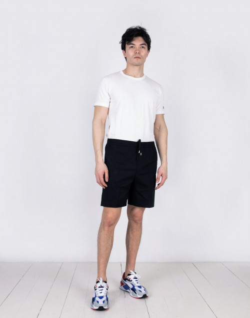 Black cotton drawstring bermuda