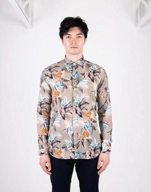 Beige floral print shirt