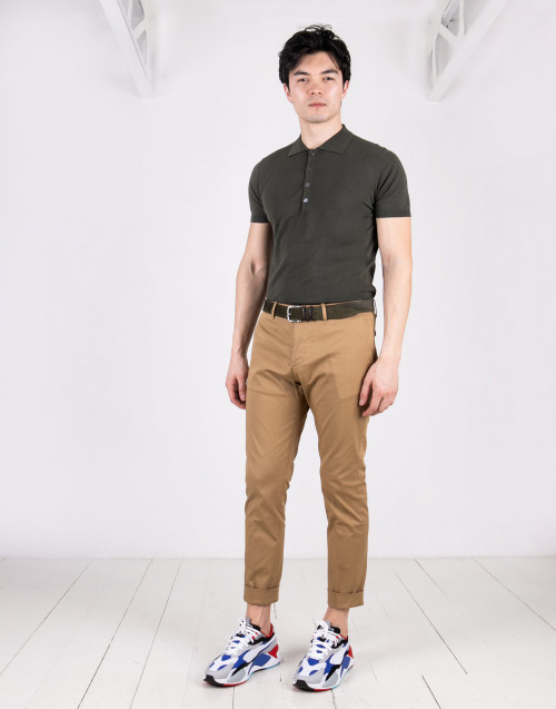 Beige pence chino trousers