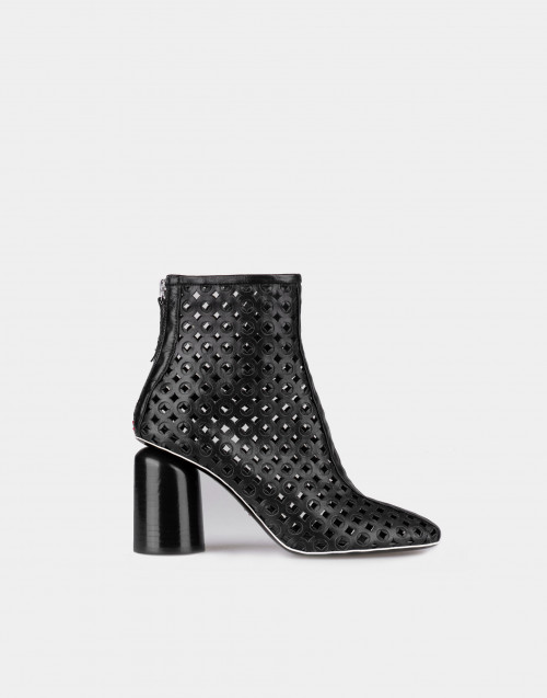Black perforated kid ankle boot
