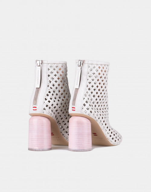 White perforated kid ankle boot