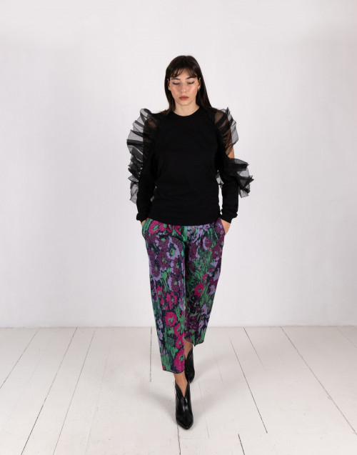 Structured multicolor trousers