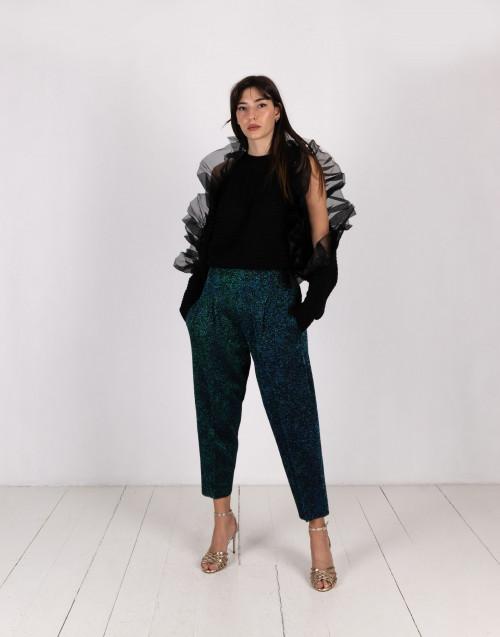 Pantaloni strutturati nero/petrolio