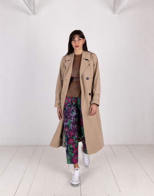 Beige double-breasted trench coat