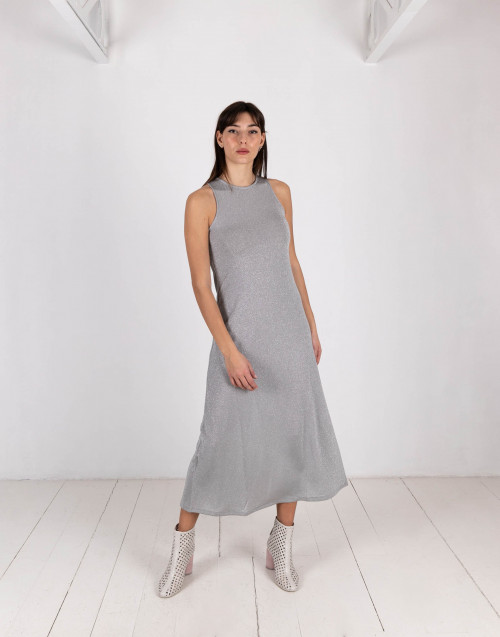 Silver lurex long dress