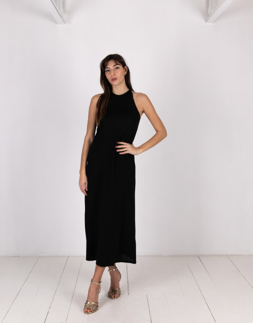 Black lurex long dress