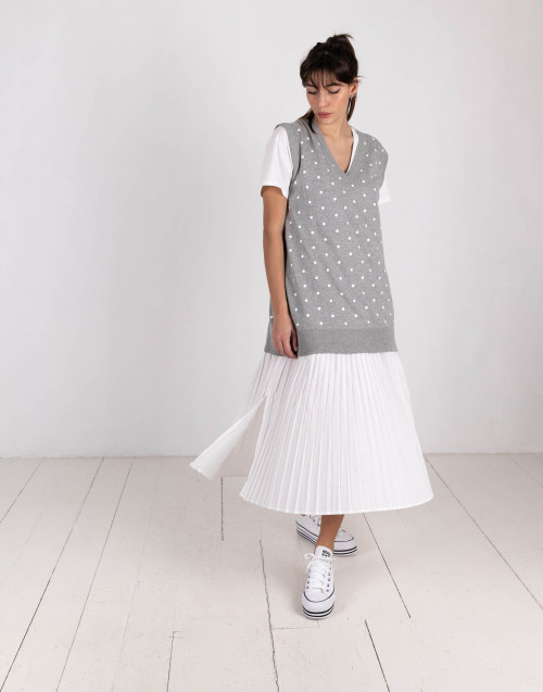 White and gray polka dot dress