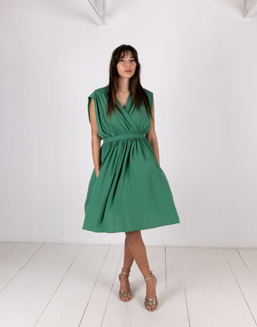 Green crossed dress