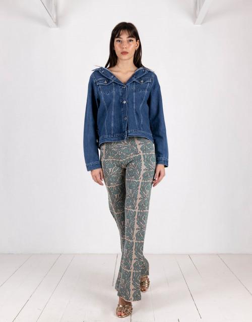 Pantalone jaquard carne/azzurro