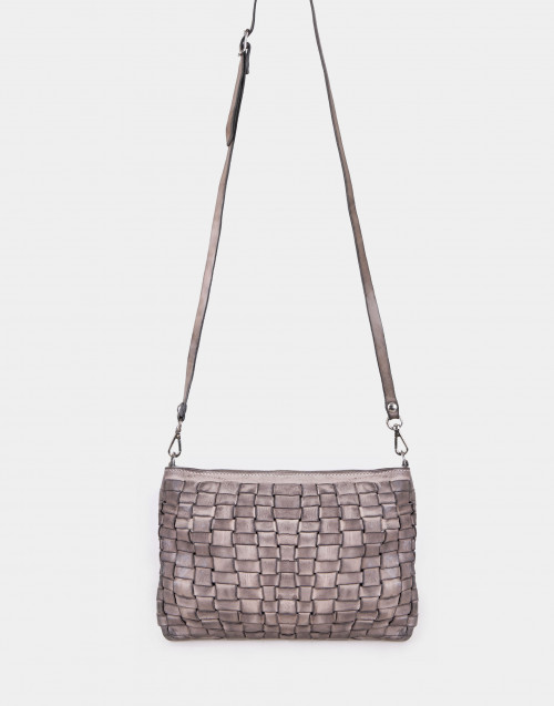 Beige woven leather envelope bag