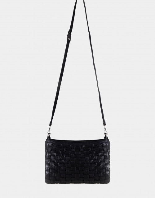 Black woven leather envelope bag
